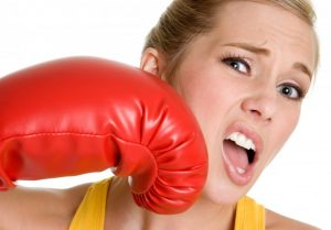 woman boxing glove face