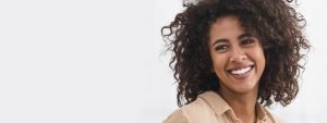 attractive young woman curly hair